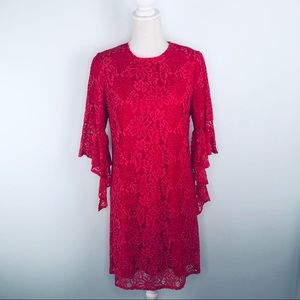 NWT Nanette Lepore Red & Pink Lace Dress Sz 6